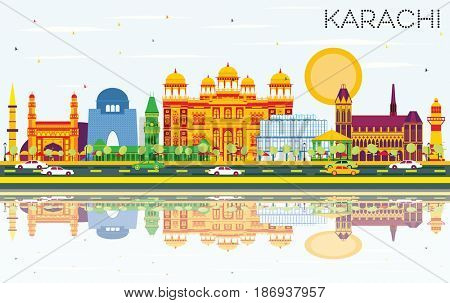 Karachi Skyline with Color Landmarks, Blue Sky and Reflections. Business Travel and Tourism Concept with Historic Buildings. Image for Presentation Banner Placard and Web Site.