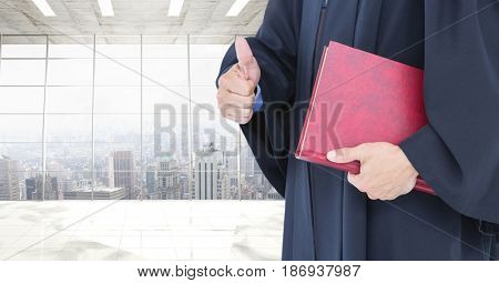 Digital composite of Judge holding book in front of office windows over city