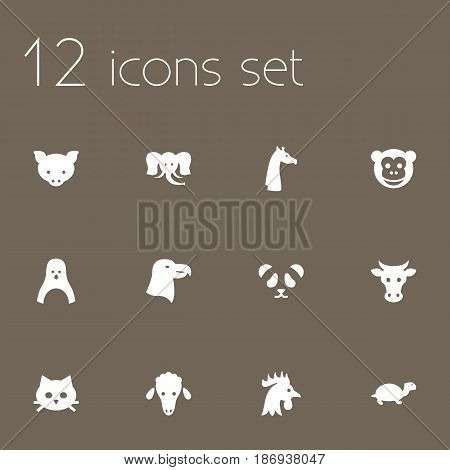 Set Of 12 Alive Icons Set.Collection Of Lamb, Bear, Rooster And Other Elements.