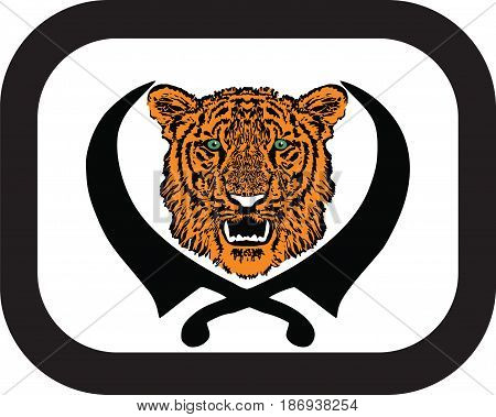 Tiger head with fangs and crossed swords. Sketch for tattoo, vector