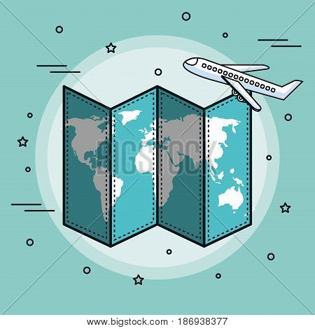 Map and airplane over teal background. Vector illustration.