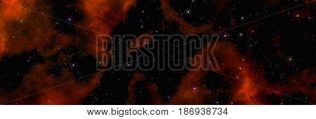 Star field voyage with orange cosmic space nebula, digital art illustration work.