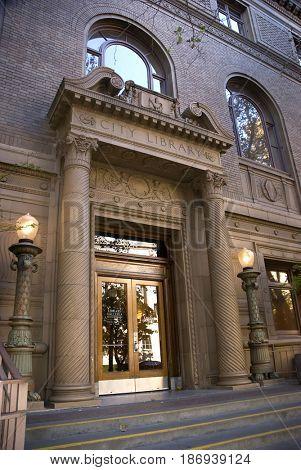 SACRAMENTO, CALIFORNIA, USA - November 14, 2009: Entrance to the downtown Sacramento Public Library is a classic example of Italian Renaissance architecture