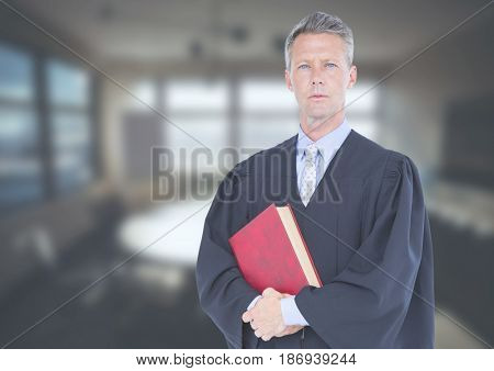 Digital composite of Judge holding book in front of office