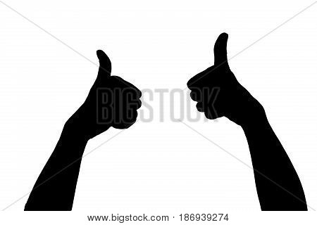 silhouette of hands isolated on the white background