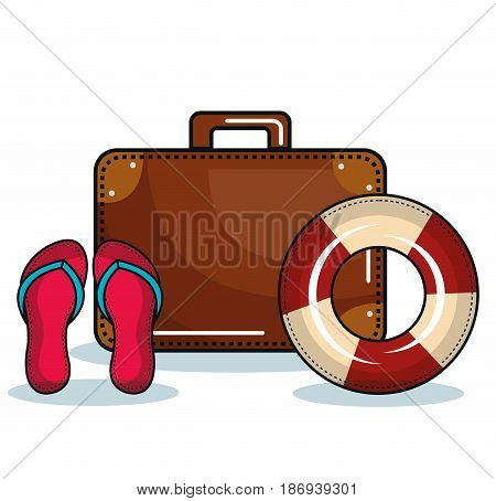 Suitcase, flip flops and lifesaver over white background. Vector illustration.