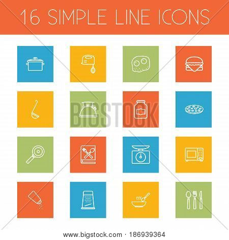 Set Of 16 Cooking Outline Icons Set.Collection Of Ladle, Mixer, Omelette And Other Elements.