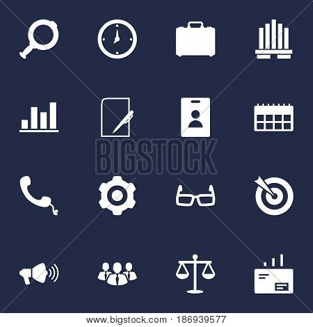 Set Of 16 Employment Icons Set.Collection Of Diagram, Speaker, Id Card And Other Elements.