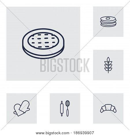 Set Of 6 Oven Outline Icons Set.Collection Of Croissant, Pancakes, Wheat And Other Elements.