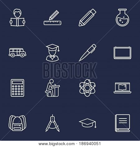 Set Of 16 Science Outline Icons Set.Collection Of Bus, Backpack, Ruler And Other Elements.