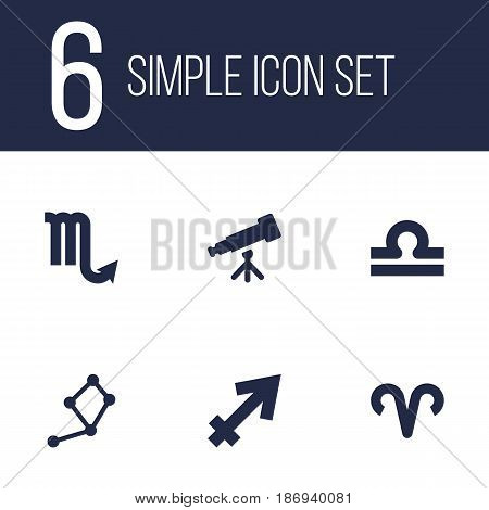 Set Of 6 Astronomy Icons Set.Collection Of Zodiac Sign, Binoculars, Scales And Other Elements.