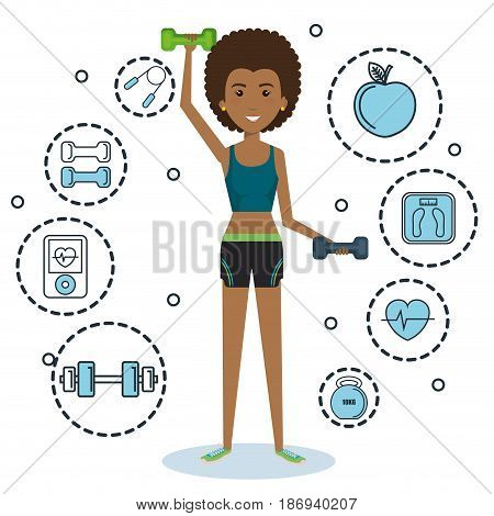 Exercising afro american holding dumbbells surrounded by related objects icons over white background. Vector illustration.