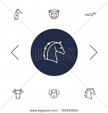 Set Of 6 Brute Outline Icons Set.Collection Of Dog, Monkey, Horse And Other Elements.