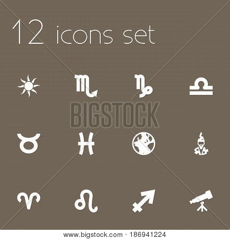 Set Of 12 Galaxy Icons Set.Collection Of Earth Planet, Fishes, Solar And Other Elements.