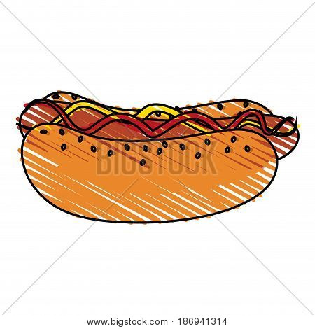 color crayon stripe cartoon hot dog with mustard and ketchup fast food vector illustration