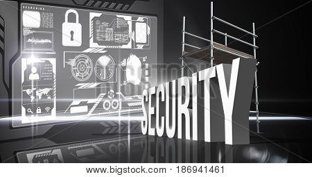 Digital composite of Composite image of 3d security items