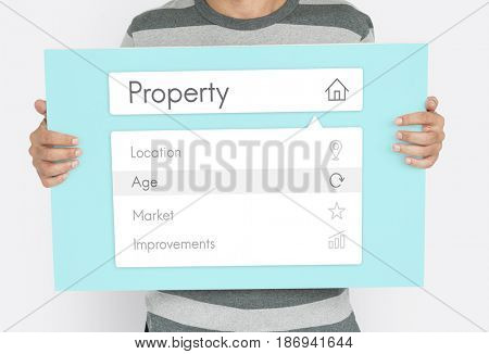 Man holding banner of real estate residential investment graphic