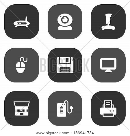 Set Of 9 Laptop Icons Set.Collection Of Diskette, Control Device, Joystick And Other Elements.