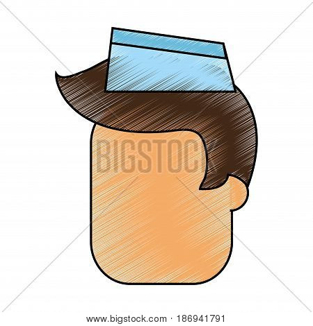 color pencil cartoon faceless male food seller with cap vector illustration