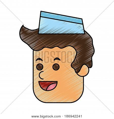 color pencil cartoon face male food seller with cap vector illustration
