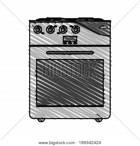 color crayon stripe cartoon stove gas with oven vector illustration