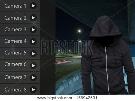 Digital composite of Criminal man on Security Camera App Interface Road Carpark