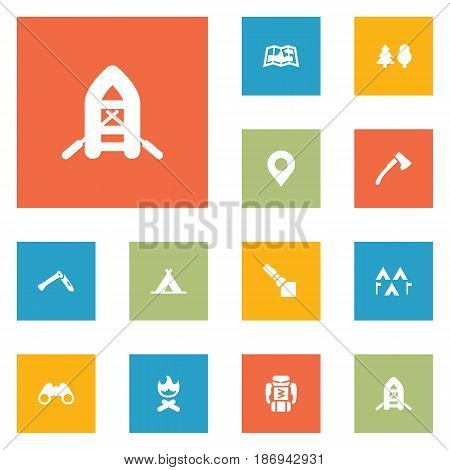 Set Of 12 Camping Icons Set.Collection Of Jackknife, Location, Inflatable Raft And Other Elements.