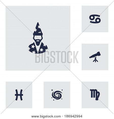Set Of 6 Horoscope Icons Set.Collection Of Crab, Fishes, Binoculars And Other Elements.