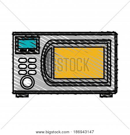color crayon stripe cartoon microwave oven element kitchen vector illustration