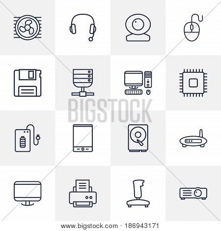 Set Of 16 Computer Outline Icons Set.Collection Of Computer Mouse, PC, Headphone And Other Elements.