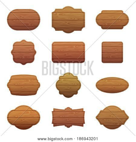 Illustration set of different shapes with wooden texture. Empty vector banners with place for your text. Empty wood board, wooden banner frame signboard