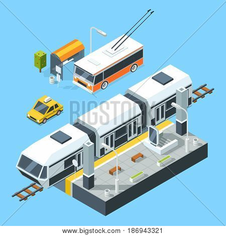 Isometric public transport stations. Bus and train. City road and rails. Vector illustrations isolate on white background. Transport for passengers train and taxi