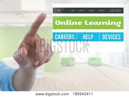 Digital composite of Hand touching an Online learning App Interface