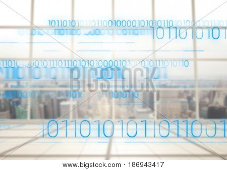 Digital composite of Blue binary code against blurry window