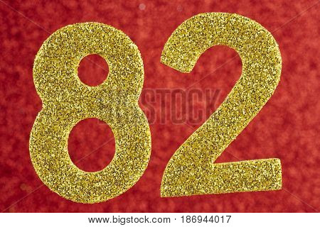 Number eighty-two yellow color over a red background. Anniversary. Horizontal