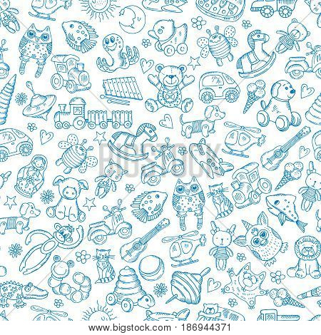 Children with toys. Seamless pattern with vector hand drawn illustration. Seamless background with toys, doodle horse toys outline