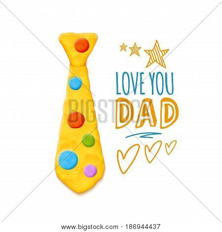 Vector Bright Cute Fathers Day Greeting With Realistic Clay Tee Decoration