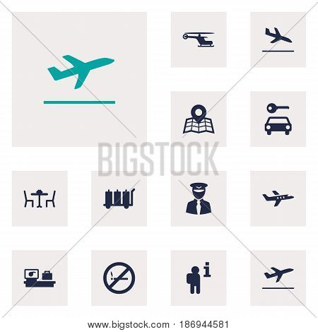Set Of 12 Aircraft Icons Set.Collection Of Data, Automobile, Aircraft And Other Elements.