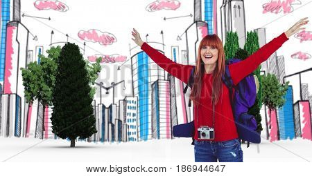 Digital composite of Digital composite image of happy female tourist with buildings and trees in background