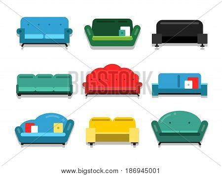 Furniture couches and sofa. Flat style vector illustrations. Furniture interior couch for home, classic colored sofa and collection of comfortable couches