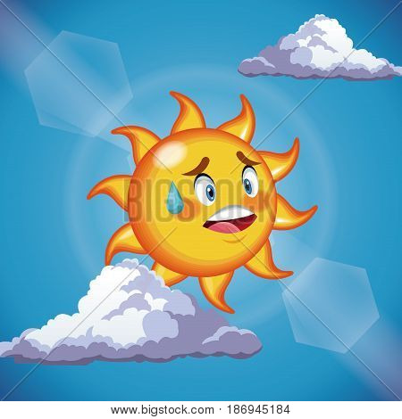 character sun sweat cute face - cartoon in the blue sky vector illustration