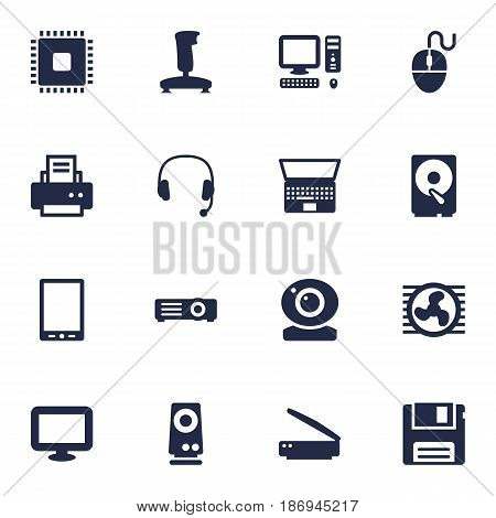 Set Of 16 Laptop Icons Set.Collection Of Palmtop, Show, Record And Other Elements.