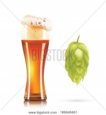 Hop plant and glass of beer 3d vector icon isolated on white background. Hops beer vector illustration.