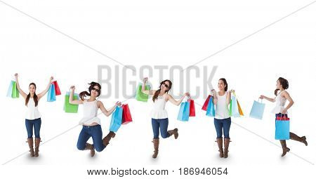 Digital composite of Multiple image of woman with shopping bags against white background