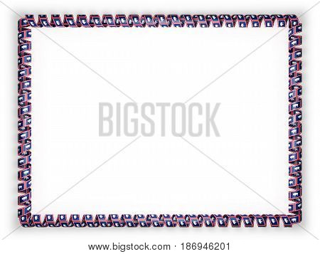 Frame and border of ribbon with the state Wyoming flag USA. 3d illustration