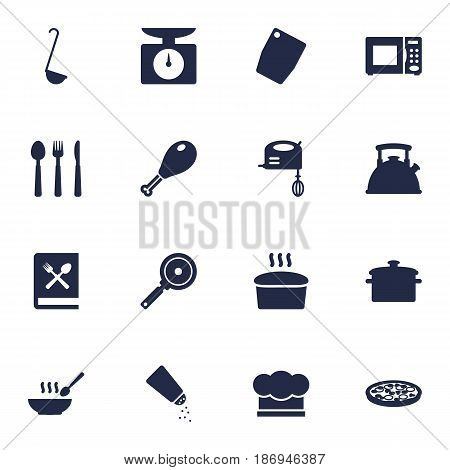 Set Of 16 Kitchen Icons Set.Collection Of Saucepan, Scoop, Weighing Machine And Other Elements.