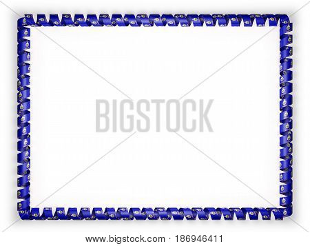 Frame and border of ribbon with the state Kansas flag USA. 3d illustration