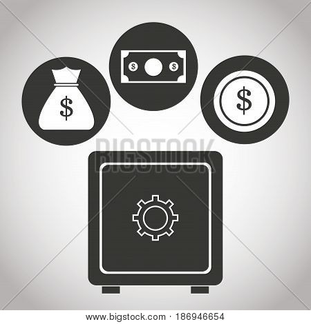box safe money bank currency coin. banking pictogram image vector illustration