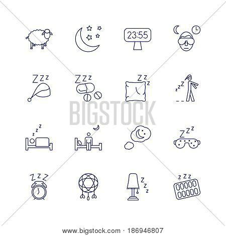 Insomnia problems icons and sleeping trouble vector signs. Set of sleep icons, illustration of bed rest sleep
