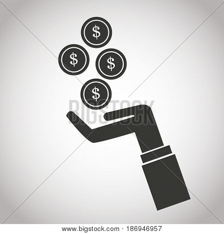hand with falling coins money dollar. banking pictogram image vector illustration